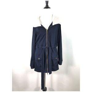 Saturday Sunday Jacket M Fleece Lined Hood Blue